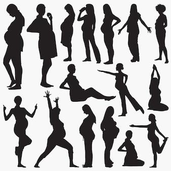 妊娠中の女性の活動のシルエット