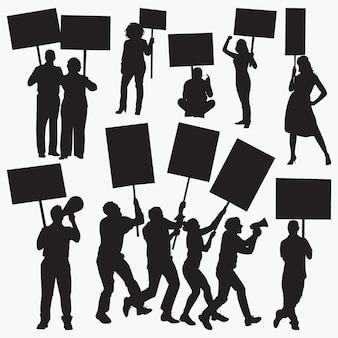 怒っている抗議者のシルエット