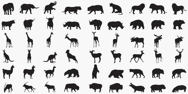 Набор силуэтов животных