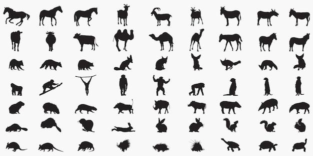 動物セットのシルエット