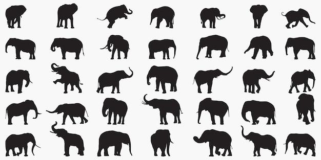 Силуэты слонов