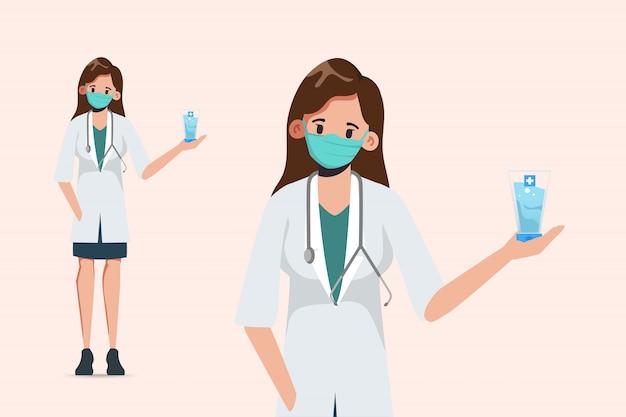 医者はマスクを着用し、消毒剤アルコールジェルを提示します。