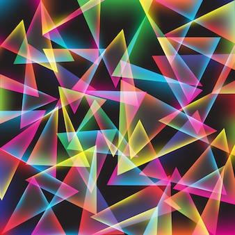 鮮やかな幾何学的三角形の色ネオンライトの背景