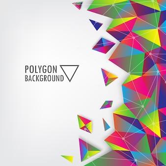 鮮やかなカラフルな三角ポリゴンの背景。
