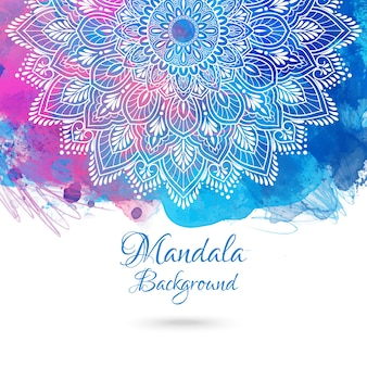 手描きの曼荼羅と鮮やかな水彩の背景。