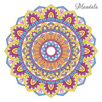 花の形のカラフルな曼荼羅