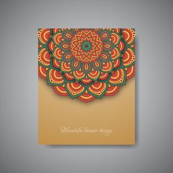 幾何学的な曼荼羅の花のバナーの背景。