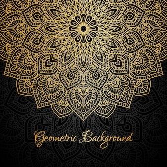 金色の曼荼羅の背景のテンプレートのイラスト。