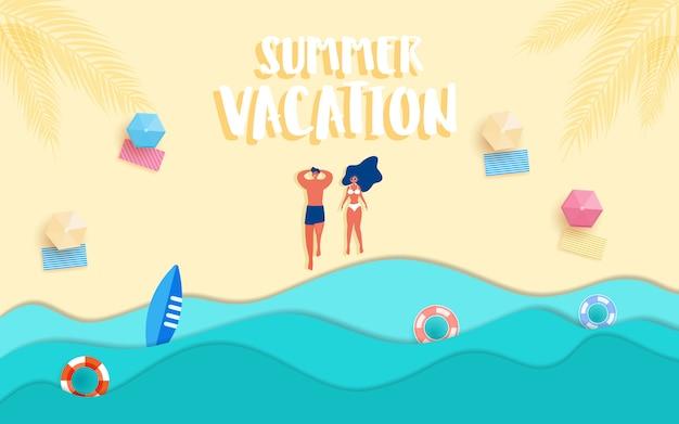 熱い女の子とビーチの男は夏の日差しを浴びます。