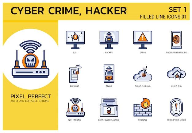 塗りつぶされた線のアイコンのスタイル。ハッカーサイバー犯罪攻撃