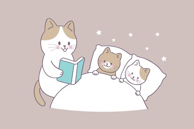 Вектор кота младенца книги чтения кота матери милый милый.