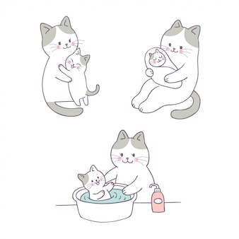 漫画かわいいお母さんと赤ちゃん猫ベクトル。