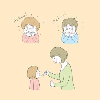 漫画かわいいママと女の子の病気のベクトル。