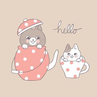 Мультфильм милые кошки и чайник и чашка.