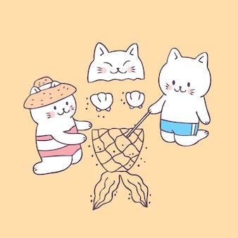 漫画かわいい夏猫ビーチベクトル。
