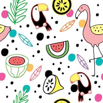 漫画かわいい夏のサイチョウとフラミンゴのベクトル。