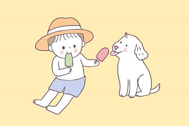 Мальчик лета шаржа милый и вектор собаки и мороженого.