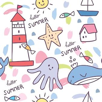 Мультяшный милое летнее морское животное бесшовный фон