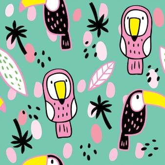 漫画かわいい夏のサイチョウと葉のパターン