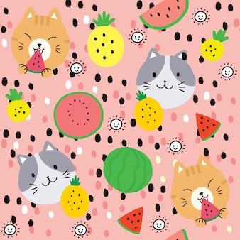 Мультяшный милый летний кот и фрукты бесшовный фон