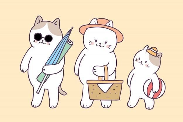 Мультфильм милый летний семейный кот пикник