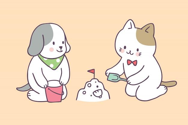 漫画かわいい夏の猫と犬が遊んで