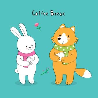 Мультфильм милый красный лиса и белый кролик пить кофе