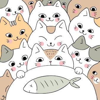 漫画かわいい落書き猫と魚のベクトル。
