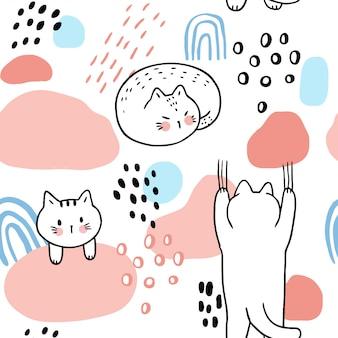 漫画かわいい甘い猫のシームレスなパターンベクトル。