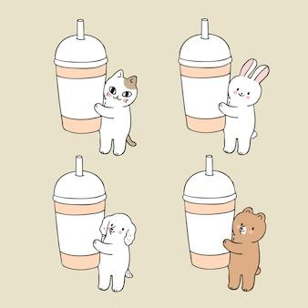 漫画かわいい動物とカップ紙のベクトル。