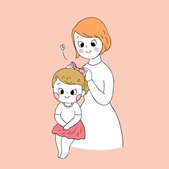 漫画かわいい母と娘のベクトル。