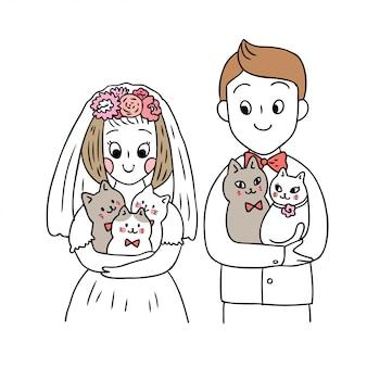 漫画かわいい結婚式と猫のベクトル。