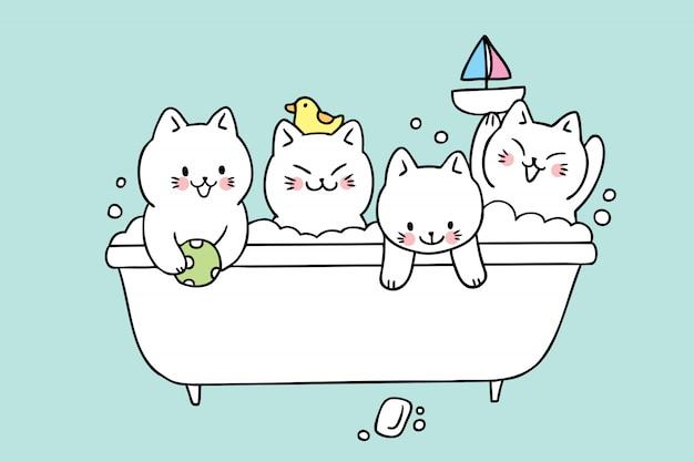 漫画かわいい猫風呂ベクトル。