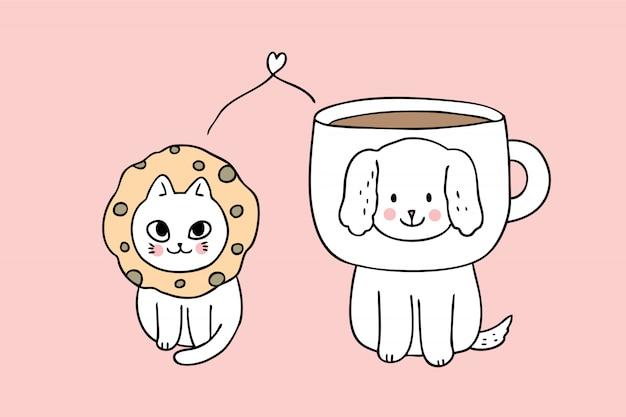 漫画かわいい犬と猫のベクトル。