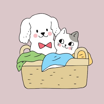 漫画かわいい犬と猫のバスケット