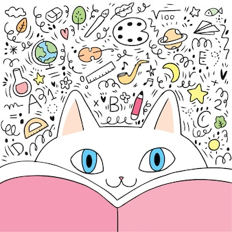 Мультяшный милый котик и книга
