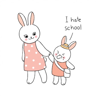 学校の母親と赤ちゃんウサギが学校に歩いて戻ってかわいい漫画。