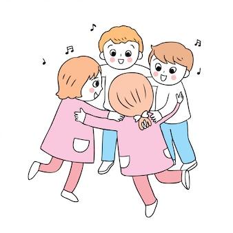 学校の男の子と女の子の演奏にかわいい漫画
