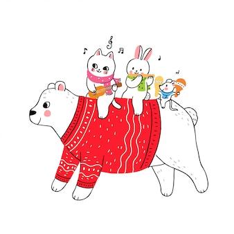 Мультфильм милый зимний белый медведь и кошка и кролик и мышь играют музыку