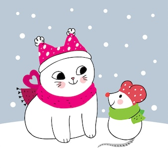 Мультяшный милый зимний кот и мышка