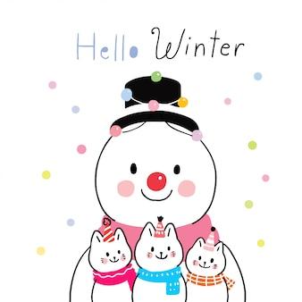 Мультяшный милый зимний снеговик и кошки