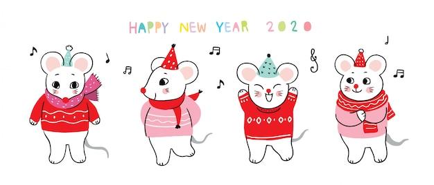 Мультяшная милая новогодняя мышка танцует