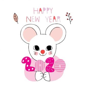 Мультяшная милая новогодняя мышь
