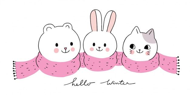 漫画かわいい動物の冬、ホッキョクグマとウサギと猫