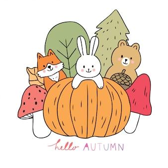 漫画かわいい動物秋とカボチャとキノコのベクトル。