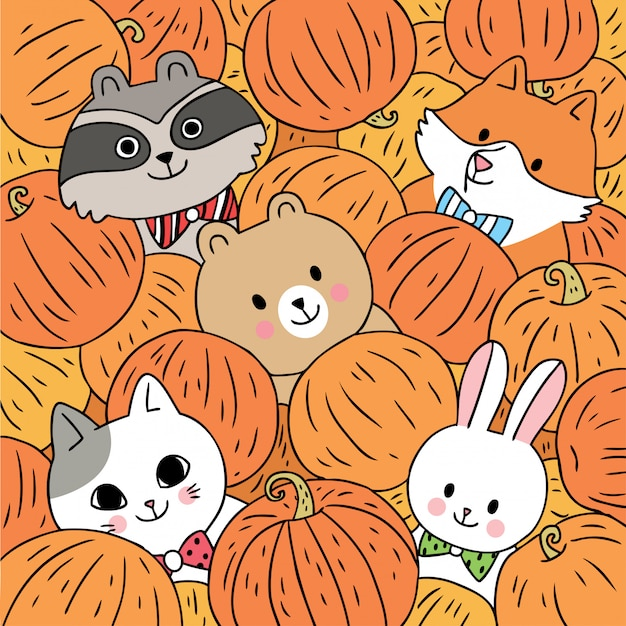 漫画かわいい動物秋とカボチャのベクトル。