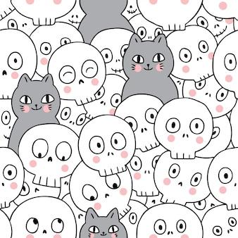 猫とスケルトンのシームレスパターン