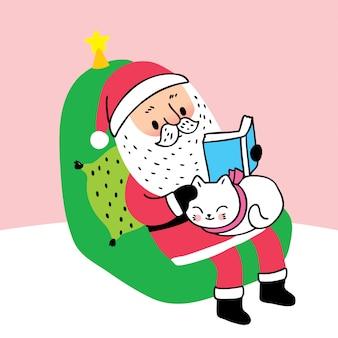 漫画かわいいクリスマスサンタクロースの本を読んで、眠っている猫。