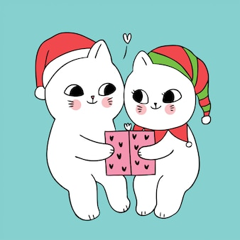 Мультяшный милая рождественская пара кошек и подарок.