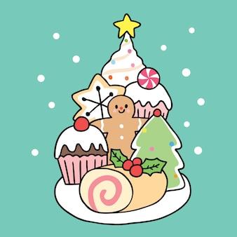漫画かわいいクリスマスの甘いデザート。